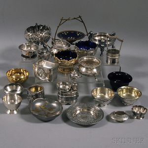 Twenty-five Mostly Asian Silver, Plate, and Metal Salts