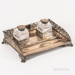 English Sterling Silver and Cut Glass Desk Set