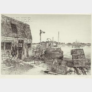 Samuel V. Chamberlain (American, 1895-1975)      Harborside, Friendship, Maine