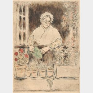 Jean François Raffaëlli (French, 1850-1924)      Le jardin de la vielle fille