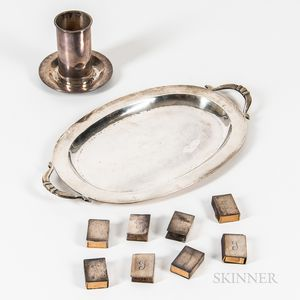 Five Pieces of Mexican Sterling Silver Tableware and Eight Silver-plated Matchbook Covers