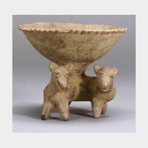 Pre-Columbian Pottery Effigy Bowl