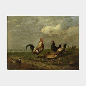 Franz van Severdonck (Belgian, 1809-1889)  Chickens Feeding