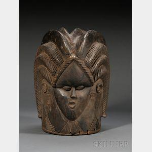 Bassa Bundu Carved Wood Helmet Mask