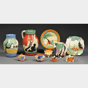 Ten Clarice Cliff Decorated Pottery Items