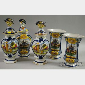 Assembled Five-piece Dutch Delft Polychrome-decorated Vase Garniture
