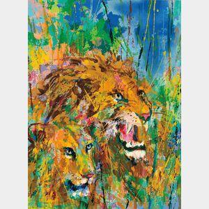 LeRoy Neiman (American, 1921-2012)      Lions