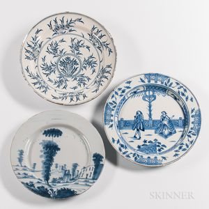 Three English Blue and White Tin-glazed Earthenware Chargers