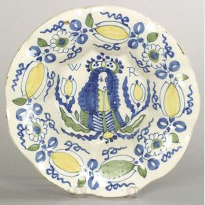 Dutch Delft Polychrome Decorated Prince William Charger
