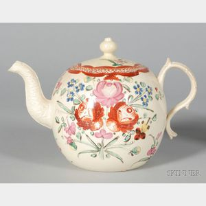 Wedgwood Rhodes Decorated Queen's Ware Teapot and Cover
