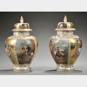Pair of Dresden Porcelain Vases and Covers