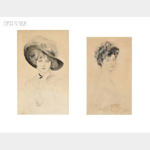 Paul César Helleu (French, 1859-1927)      Two Portraits:  Femme au chapeau