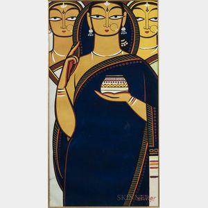Jamini Roy (1887-1972), Bride and Two Companions