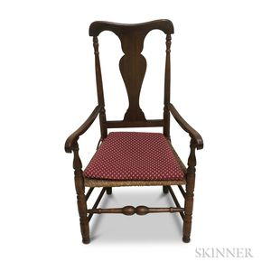 Queen Anne-style Maple Rush-seat Armchair
