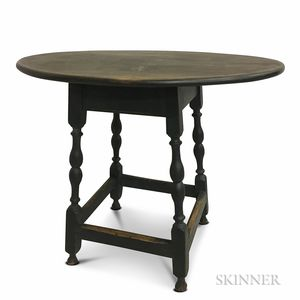 Black-painted and Turned Maple and Pine Oval-top Tavern Table