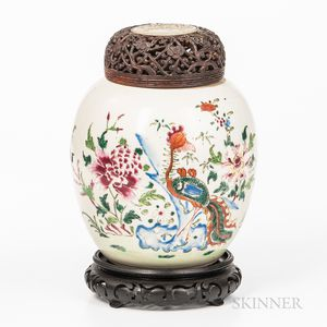 Famille Rose Jar and Wood Cover