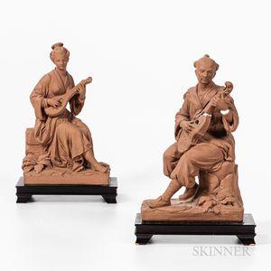 Pair of Plaster Musician Sculptures