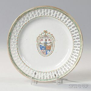 Export Porcelain Reticulated Armorial Plate
