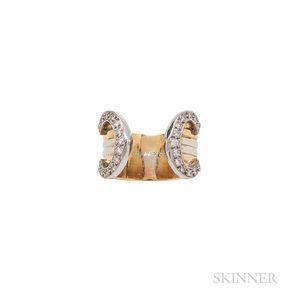 "Cartier 18kt Tricolor Gold and Diamond ""C de Cartier"" Ring"