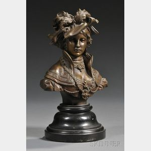 H. Schwabe Patinated Bronze Bust of a Lady