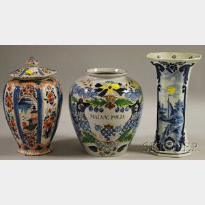 Three Assorted Delft Pottery Items