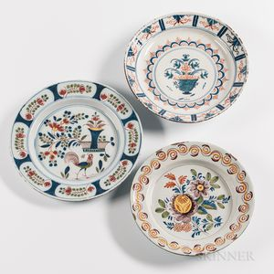 Three Polychrome Decorated Tin-glazed Earthenware Chargers