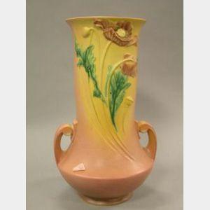 Large Roseville Poppy Vase.