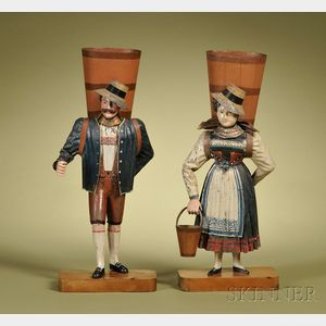 Pair of Rock & Graner Figural Mantel Vases