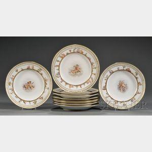 Assembled Set of Ten Meissen Porcelain Plates