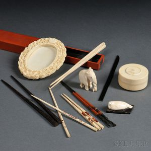 Four Ivory Items and Five Sets of Chopsticks