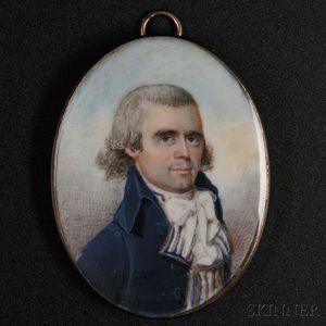 Attributed to Archibald Robertson (American, 1765-1835) Miniature Portrait of Obadiah Wright (1761-1843) of Brookfield, Massachusetts.
