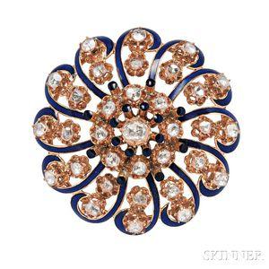 14kt Gold, Diamond, and Enamel Brooch