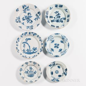 Six Blue and White Tin-glazed Earthenware Plates