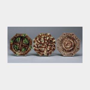 Three Staffordshire Lead Glazed Creamware Octagonal Plates