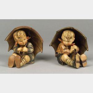 Pair of Large Hummel Ceramic Figures with Umbrellas.