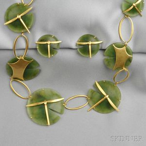 """18kt Gold and Nephrite """"Lily Pad and Damselfly"""" Suite, Gabriella Kiss"""
