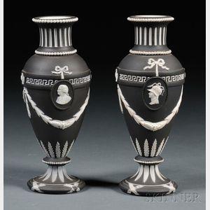Pair of Wedgwood Black Jasper Dip Vases