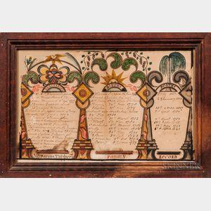 """Watercolor """"Mr. Darius Tupper's Family Record,"""""""