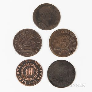 Five Colonial Cents and Tokens
