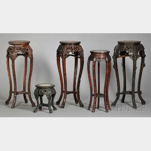Five Hardwood and Marble Stands