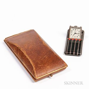"Gruen ""Alpina"" Silver and Enameled Art Deco Purse Watch"