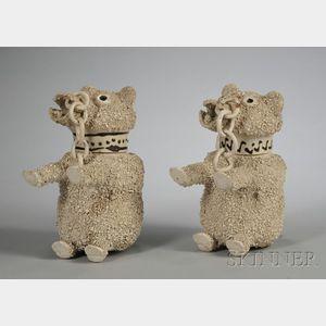 Two Similar Staffordshire White Saltglazed Stoneware Bear Jugs and Covers