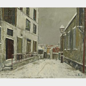 Sold for: $101,910 - Maurice Utrillo (French, 1883-1955)      Impasse trainee sous la neige à Montmartre