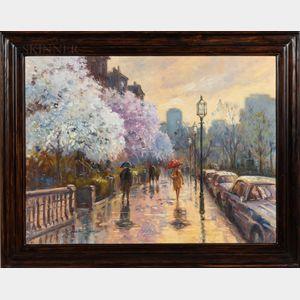 William J. Maloney (American, b. 1932)      Magnolias in Boston Rain