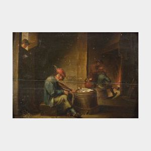 Manner of David Teniers, the younger (Flemish, 1610-1690)  Fiddler in a Tavern.