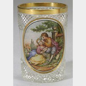 Enamel Decorated Colorless Cut Glass Beaker