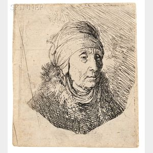 Attributed to Rembrandt van Rijn (Dutch, 1606-1669)      Woman with a High Head-Dress Around Chin: Bust
