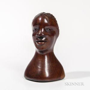Carved Walnut Head of a Black Man