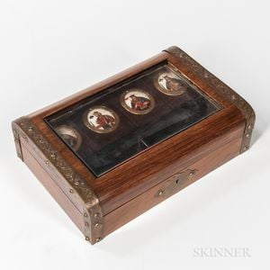 Rosewood Veneer, Faux Rosewood-grained, and Metal-mounted Game Box