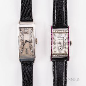 Two Platinum and Diamond Longines Tank-style Wristwatches